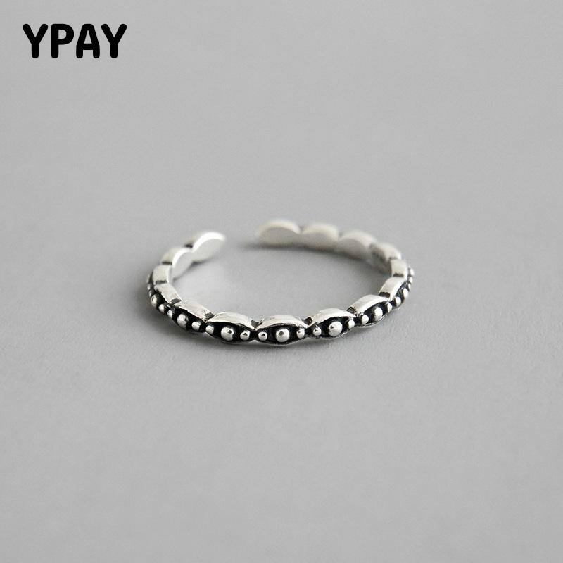 YPAY 100% Real 925 Sterling Silver Adjustable Ring Korea Vintage Simple Round Bead Opening Rings for Women Fine Jewelry YMR913