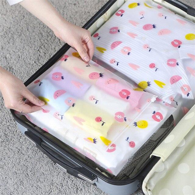 VOGVIGO EVA Frutas Transparente Cosméticos Saco de Viagem Maleta de Maquiagem Make Up Kit Selo Zipper Organizador De Armazenamento Bolsa de Higiene Pessoal Banho de Lavagem