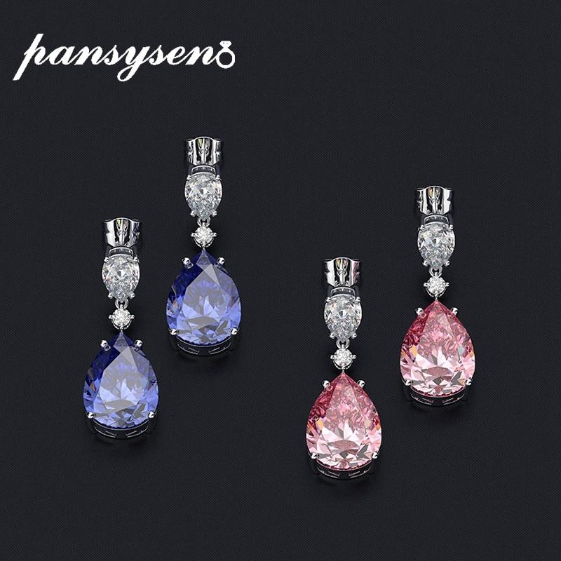 PANSYSEN Romantic Real 925 Sterling Silver Sapphire Gemstone Drop Earrings for Women Cocktail Party Dangle Earrings Fine Jewelry