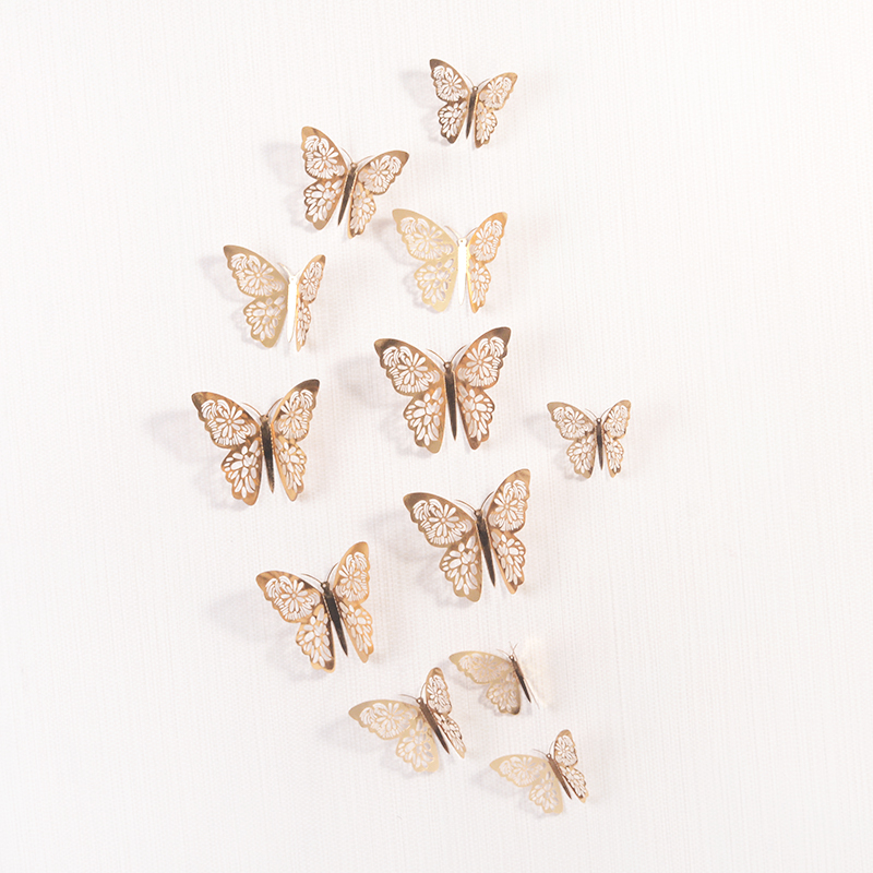 12 Pcs/Set 3D Wall Stickers Hollow Butterfly for Kids Rooms Home Wall Decor DIY Mariposas Fridge stickers Room Decoration(China)