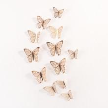 12 unids/set pegatinas de pared 3D mariposa hueca para decoración de la pared del hogar de las habitaciones de los niños DIY Mariposas nevera adhesivos decoración de dormitorio