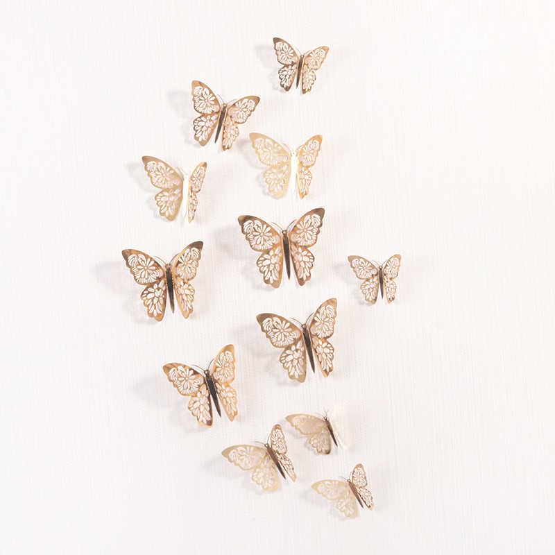 12 adet/takım 3D duvar çıkartmaları içi boş kelebek çocuk odaları için ev duvar dekoru DIY Mariposas buzdolabı çıkartmalar odası dekorasyon