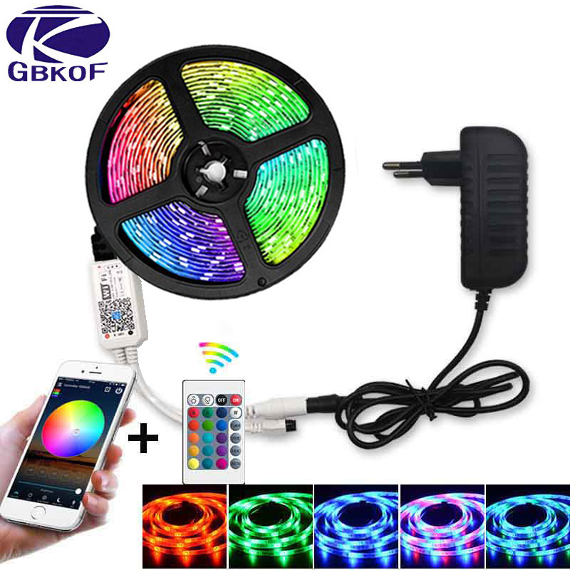 SMD 5050 2835 DC12V Rgb String Diode Flexible Ribbon 5m 10m 15m WiFi LED Strip Light RGB Waterproof  WiFi Contoller+Adapter Plug