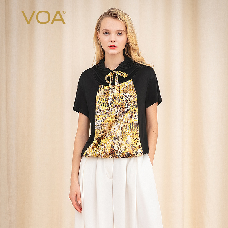 VOA jet black knitted double-sided silk leopard print contrast panel lace up hooded elastic casual skin friendly T-shirt B9150