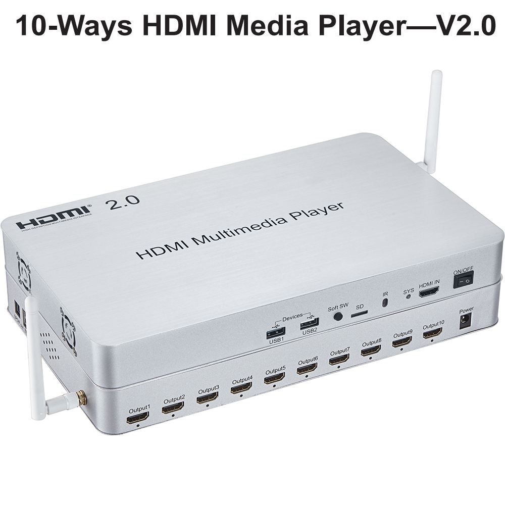 HDMI 2.0 10-Ways Media Player Switch/Splitter, 1.5 GHz Quad-core CPU Support 2K, 4K Ultra HD Play On-demand,games, Web Browsing