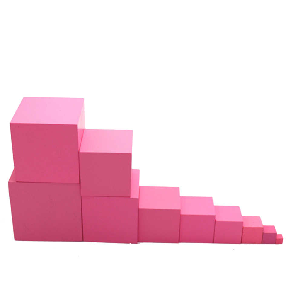Montessori de madeira rosa torre bloco crianças brinquedo educativo aprendizagem precoce brinquedos para crianças presente natal do bebê