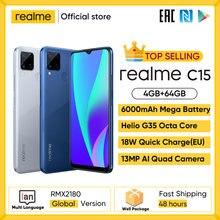 Globale Version Auf Lager realme C15 Smartphone Helio G35 Octa Core 4GB 64GB 6.5