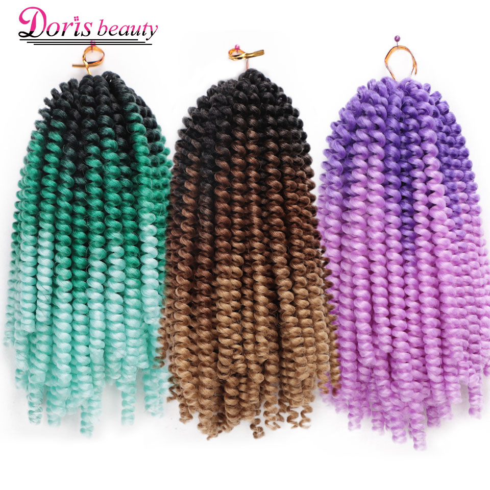 Spring Twist Hair Crochet Braids Rainbow Color Ombre Braiding Hair 8 Inch Synthetic Hair Extensions Passion Twist Tresse Fluffy
