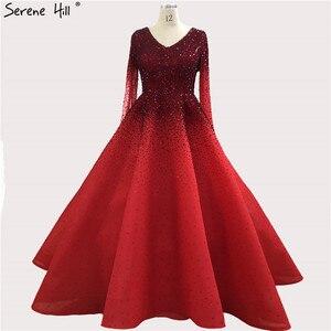 Image 1 - Дубай красный с длинным рукавом Кристалл Вечерние платья 2020 v образным вырезом A Line Роскошные вечерние платья Длинные Serene Хилл BLA70272