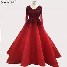 Dubai Red Long Sleeve Crystal Evening Dresses 2020 V Neck A Line Luxury Evening Gowns Long Serene Hill BLA70272