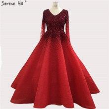 Dubaj czerwone długie rękawy kryształowe suknie wieczorowe 2020 dekolt w szpic luksusowe suknie wieczorowe długie Serene Hill BLA70272