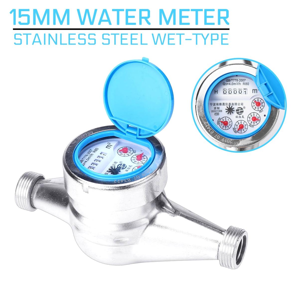 Water Meter Stainless Steel 15mm Wet-type Cold Water Meter Plastic Rotor Type Measuring Meter Tap Table Counter Home Garde Tools