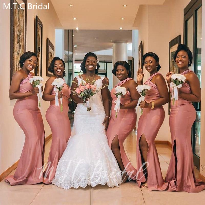 Dusty Rose Mermaid Plus Size Bridesmaid Dresses One Shoulder High Slit Sexy Black Girls Wedding Guest Dress Robe De Soiree Cheap