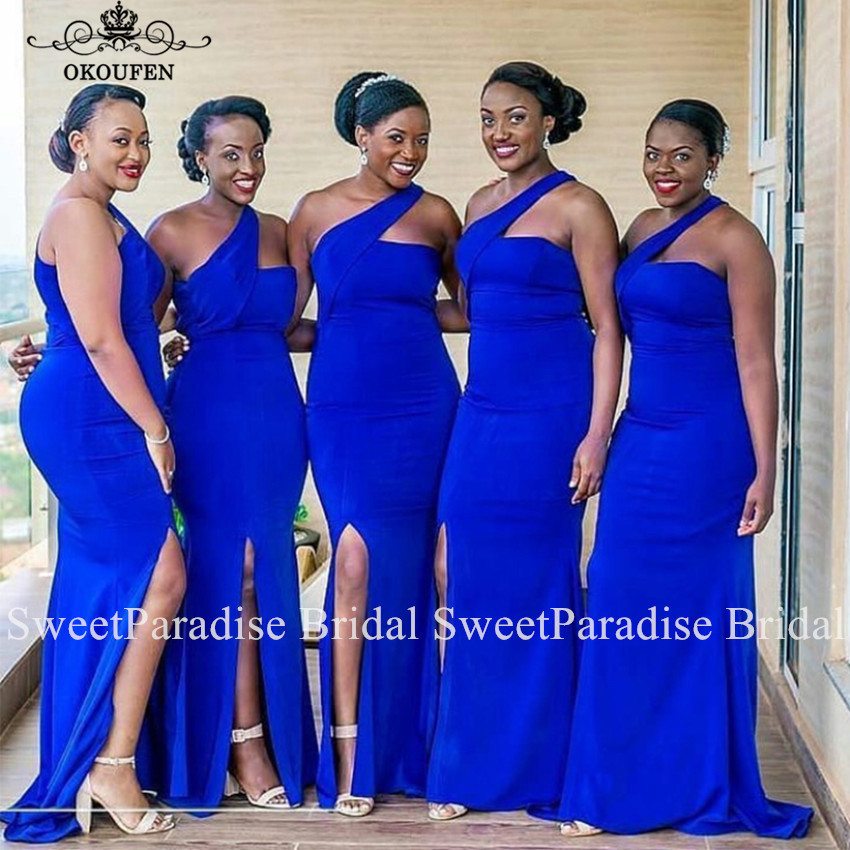 One Shoulder   Bridesmaid     Dresses   In Royal Blue Sexy Side Split Mermaid Long Prom Wedding Guest   Dress   For Women