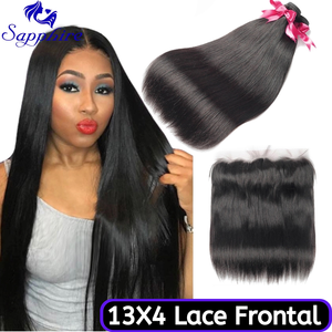Image 1 - Sapphire Straight Hair Frontal With Bundles Human Hair Bundles With Frontal Brazilian Hair Weave Bundles With Closure Frontal