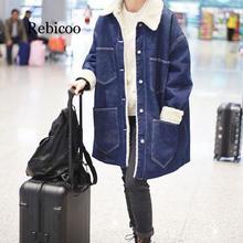 Nuevo estilo aeropuerto estilo celebridad más terciopelo Jeans abrigo de invierno de las mujeres de media longitud de algodón acolchado ropa