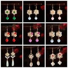 Boucles d'oreilles traditionnelles chinoises pour femmes et filles, bijoux ethnique Hanfu, pendentif en coquille de fleur esthétique, cadeaux à la mode