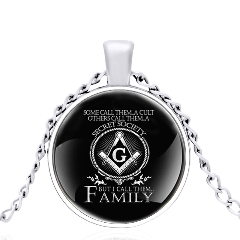 2020 New Arrival Freemason Symbol Glass Dome Pendant Necklace Men Women Charm Jewelry Accessories Gifts