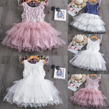 цена на Baby Girls Summer Princess dress party dress mesh sleeveless big hem floral printed dance dress v neck bow knot collar dress D30