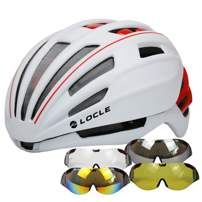 LOCLE 280g Goggles Cycling Helmet Insect Net Road Mountain MTB Bike Bicycle Helmet With Lens Helmet Bike Casco Ciclismo