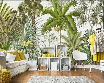 beibehang Classic Retriever Wallpaper Retro Tropical Rainforest Parrot Palm Leaf Living Room TV Background Wall papel de parede