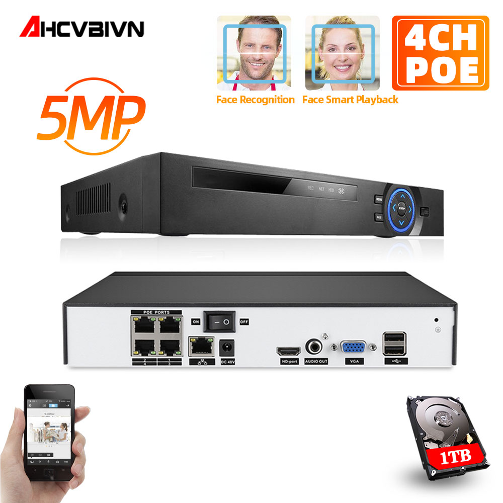 <font><b>NVR</b></font> <font><b>4CH</b></font> 5MP Audio Surveillance Security IP Camera POE <font><b>CCTV</b></font> System ONVIF P2P <font><b>NVR</b></font> Network Video Recorder With 2TB HDD <font><b>4ch</b></font> image
