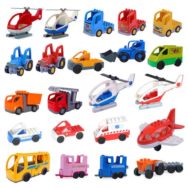 DIY samochodowe klocki budowlane zabawki dla dzieci kompatybilne Legoed Duplos duże rozmiary cegły pociąg samolot model ciężarówki zabawki na prezenty dla dzieci