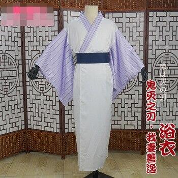 Anime Demon Slayer Kimetsu no Yaiba Agatsuma Zenitsu Kamado Tanjirou Hashibira Inosuke Bathrobe Kimono Cosplay Costume Uniform H 2