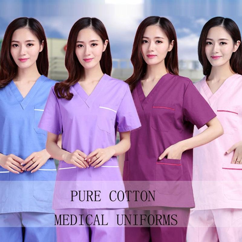 Plug Size S-4XL Medical Uniforms Short Sleeve Pure Cotton Scrubs Women V Neck Top Doctor Nurse Pants Dentist Hospital Workwear