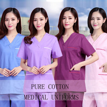 Plug Size S-4XL Medical Uniforms Short Sleeve Pure Cotton Scrubs Women V Neck Top Doctor Nurse Pants Dentist Hospital Workwear