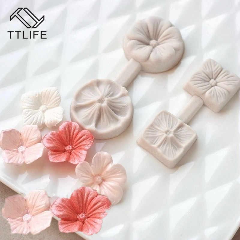TTLIFE 3D ห้ากลีบดอกไม้ซิลิโคนแม่พิมพ์ Fondant เค้กตกแต่งเครื่องมือช็อกโกแลต Confeitaria แม่พิมพ์เบเกอรี่ห้องครัวอุปกรณ์เสริม