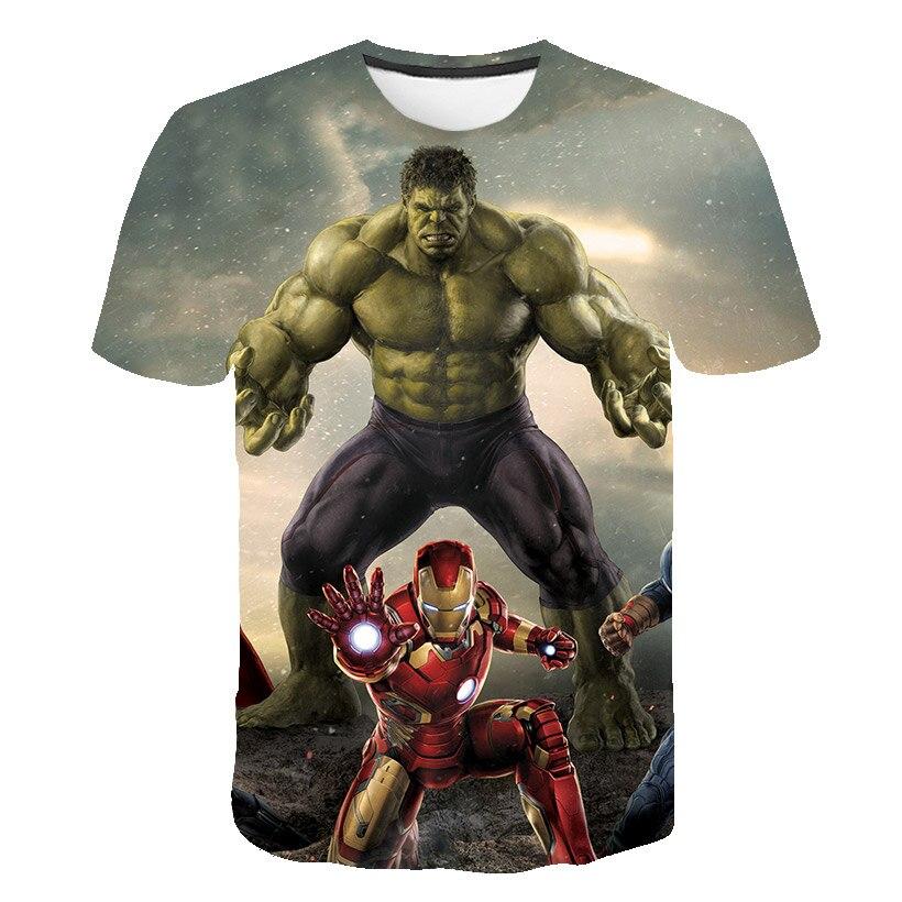 Boys T-Shirt Camisetas Girls Clothes Thor Hulk Marvel Superhero Iron Man Captain-America