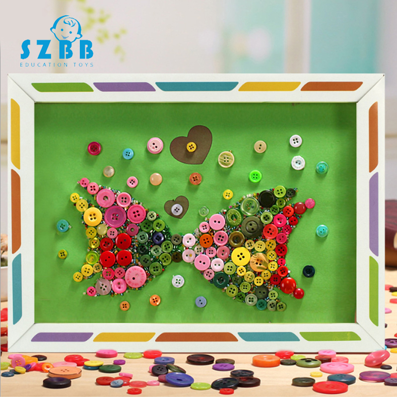 Sz Steam Kids DIY Button Stickers Drawing Toys Funny Game Handmade  Painting Drawing Craft Kit Children Early Educational Toys