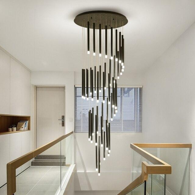 90 واط 147 واط LED الثريات ل دوامة درج فندق اللوبي طويل الإضاءة تركيبات معلقة الحديد الحديثة ماتي ثريا سوداء مصباح