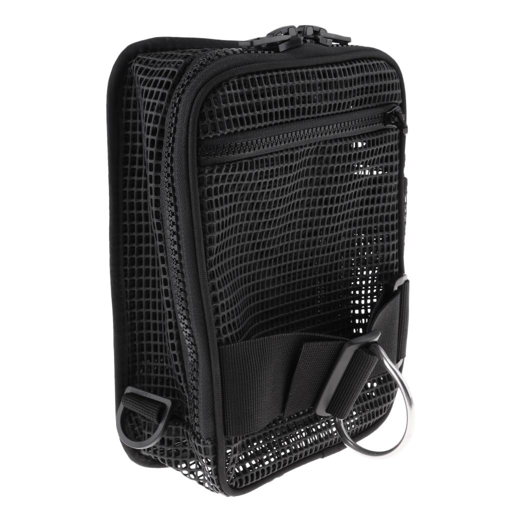 Scuba Diving Mesh Gear Bag Zipper Pocket & D Ring For Dive Reel SMB Drift Hook Flashlight Equipment
