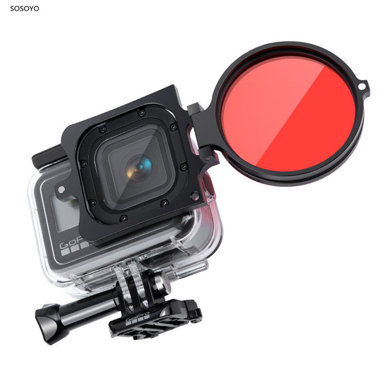 Original Wasserdichte Fall Filter Objektiv Schutz Shell Filter Adapter Halter Für <font><b>Gopro</b></font> <font><b>Hero</b></font> 8 <font><b>Action</b></font> Kamera Lila Rot-Filter image