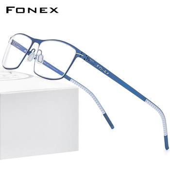 FONEX Alloy Glasses Frame Men Square Myopia Prescription Optical Eyeglasses 2020 New Male Full Korean Screwless Eyewear 993 acetate glasses frame men square prescription eyeglasses new women male nerd myopia optical clear spectacles eyewear fonex