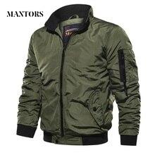 남성 슬림 피트 밀리터리 폭격기 재킷 2019 봄 가을 남성 캐주얼 솔리드 지퍼 파일럿 재킷 새로운 얇은 스탠드 칼라 남성 코트
