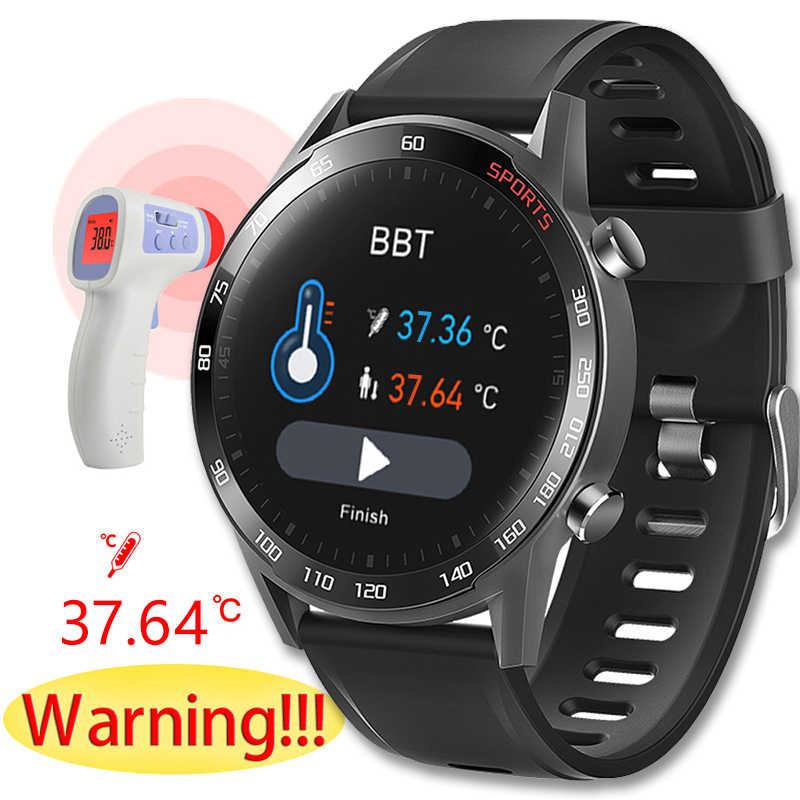 2020New T23 Blutooth Smart Uhr Körper Temperatur Fitness Tracker Heart Rate Monitor Smartwatch Männer Frauen Sport Fitness Armband