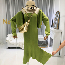 Designer Women Suits 2019 High Quality Autumn Street Knitted Crop Top+strapless Irregular Dress To Knee-Length Yellow Green