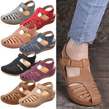 Summer Women Soft Leather Vintage Sandals Ladies Solid Closed Toe Anti-Slip Sandals Female Hook Loop Beach Shoes sandalias mujer