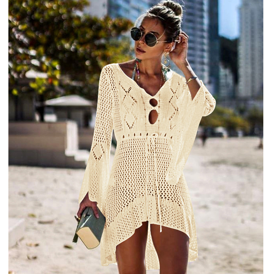 New Knitted Beach Cover Up Women Bikini Swimsuit Cover Up Hollow Out Beach Dress Tassel Tunics Bathing Suits Cover-Ups Beachwear 41