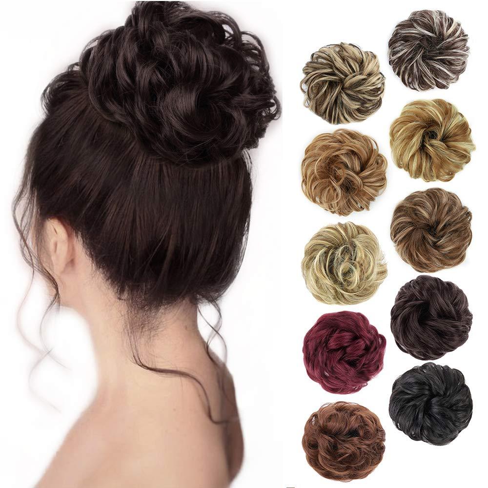 Синтетический шиньон SHANGZI с резиновой лентой, коричневый, блонд, Женский кудрявый шиньон, заколка для волос в пучок, кулиска для женщин