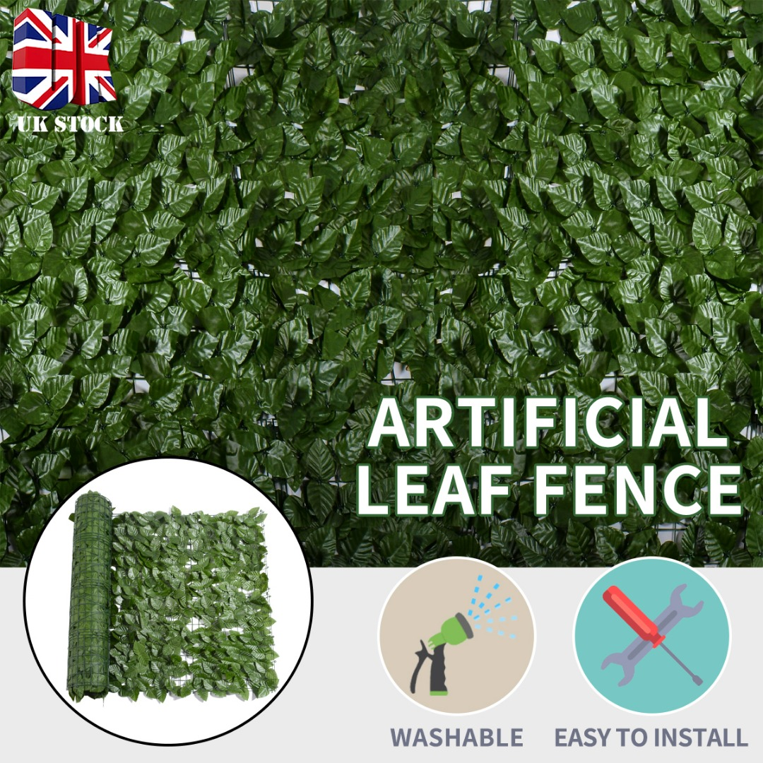 Artificial Topiary Hedge Plant Privacy Fence 1M*3M Green Leaves Fake Ivy Wall Garden Backyard Balcony Decoration