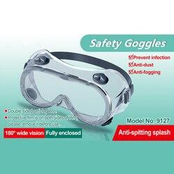 1 adet güvenlik gözlükleri tamamen kapalı nefes gözlük toz geçirmez anti-sis emek geçirmez tek kullanımlık şeffaf izolasyon göz maske