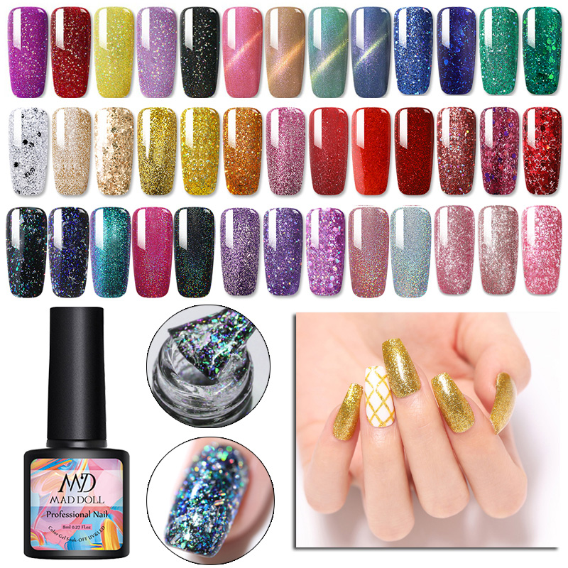 MAD DOLL 8ml Gel Nail Polish  Glitter Shiny Sequins UV Gel Long Lasting Nail Designs Laccquer Gel Nail Art Varnish
