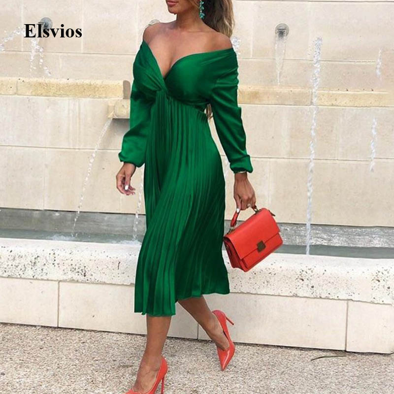 Elsvios Sexy V Neck Off Shoulder Dress Women Solid Elegant Pleated Party Dress Autumn Winter Female Long Sleeve Dress Vestidos