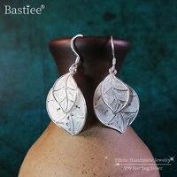 999 Sterling Silver Leaf Earrings For Women Accessories Fashion Jewelry Dangle Drop Earing Luxury Jewelry Handmade Ethnic