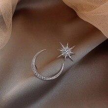 925 Sterling Silver Needle Moon and the Stars Earrings Ear Stud Temperament Female Rings Asymmetric Pendant