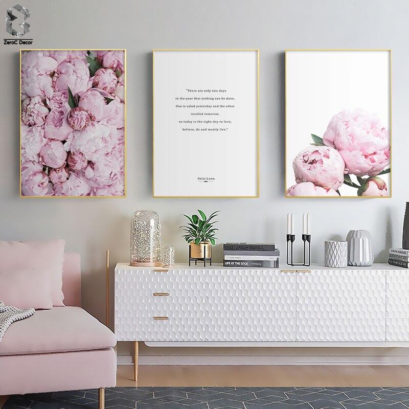 Moderno Luz Romântico Rosa Peônias Flores Canvas Galeria de Pinturas Cartazes Imprime Fotos Da Arte Da Parede Interior Do Quarto Home Decor